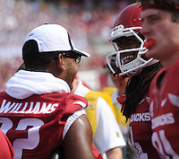 NWA Democrat-Gazette/ANDY SHUPE<br /> Arkansas' Jonathan Williams (left) celebrates with Keon Hatcher after Hatcher scored against the University of Texas at El Paso Saturday, Sept. 5, 2015, during the second quarter of play in Razorback Stadium in Fayetteville. Visit nwadg.com/photos to see more from the game.