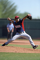Cleveland Indians pitcher Daniel Gomez (45) during an Instructional League game against the Texas Rangers on October 4, 2013 at Surprise Stadium Training Complex in Surprise, Arizona.  (Mike Janes/Four Seam Images)