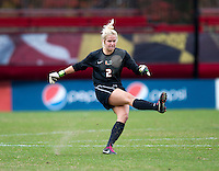 Emily Lillard (2) of Maryland punts the ball during the game at Ludwig Field in College Park, MD.  Maryland defeated Miami, 2-1, in overtime.