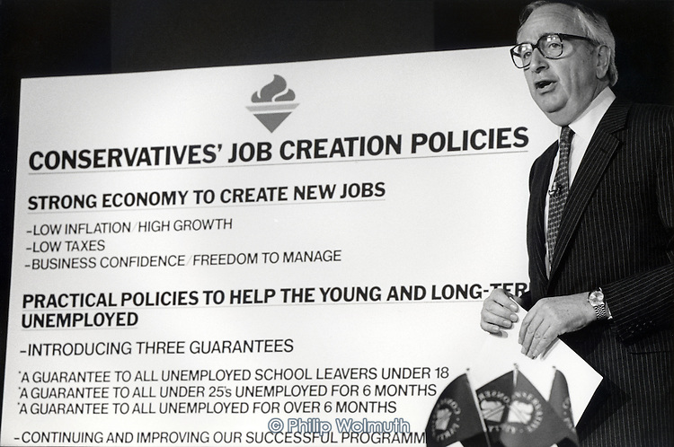 Employment Secretary Lord David Young, Conservative Party pre-election press conference.