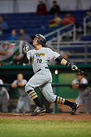 West Virginia Black Bears third baseman Nick Valaika (10) hits an RBI double during a game against the Batavia Muckdogs on June 18, 2018 at Dwyer Stadium in Batavia, New York.  Batavia defeated West Virginia 9-6.  (Mike Janes/Four Seam Images)