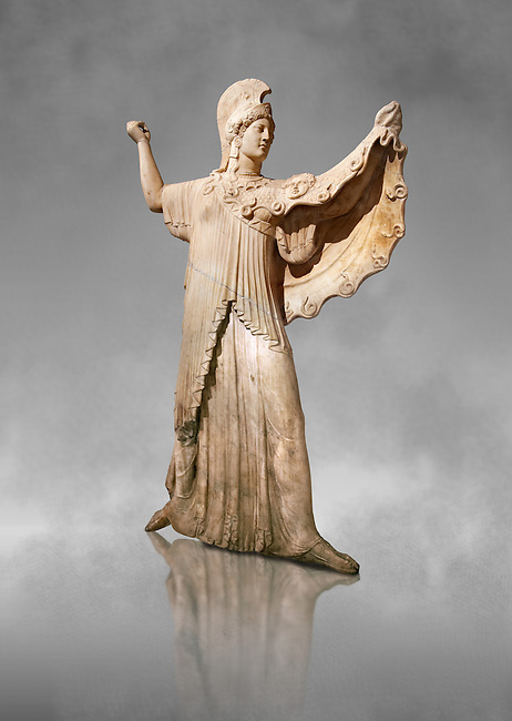 Roman marble sculpture of Athena from the tabling of the Villa of the Papyri in Herculaneum, Naples Museum of Archaeology, Italy