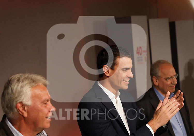 """Madrid,Spain - 16 10 2014- """"politics""""-Former Spanish Socialist Leader Felipe Gonzalez(left) beside Spanish Socialist Leader Pedro Sanchez(center) and Alfonso Guerra(right) during at the 40th anniversary ceremony of the Congress of Suresnes (Foto: Guillermo Martinez /Bouza Press)"""