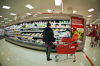 Shoppers in the grocery department in a Target store in Elmhurst in the New York borough of Queens during the Thanksgiving weekend, on Saturday, November 26, 2011. (© Richard B. Levine)