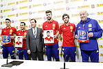 Aritz Aduriz, Pedro Rodriguez, Lluis Torrent, CEO of Panini Spain, Gerard Pique, Sergi Roberto and coach Vicente del Bosque during trade event during Spanish national football team staff. March 21,2016. (ALTERPHOTOS/Acero)