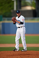 Lake County Captains relief pitcher Riley Echols (45) gets ready to deliver a pitch during the first game of a doubleheader against the South Bend Cubs on May 16, 2018 at Classic Park in Eastlake, Ohio.  South Bend defeated Lake County 6-4 in twelve innings.  (Mike Janes/Four Seam Images)