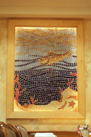 Captain George's custom mosaic fish panel made in Oceanside glass located in Virginia Beach, VA
