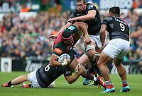 Leicester Tigers' Sione Kalamafoni is tackled by Newcastle Falcons' Mark Wilson <br /> <br /> Photographer Stephen White/CameraSport<br /> <br /> Gallagher Premiership Round 2 - Leicester Tigers v Newcastle Falcons - Saturday September 8th 2018 - Welford Road - Leicester<br /> <br /> World Copyright &copy; 2018 CameraSport. All rights reserved. 43 Linden Ave. Countesthorpe. Leicester. England. LE8 5PG - Tel: +44 (0) 116 277 4147 - admin@camerasport.com - www.camerasport.com