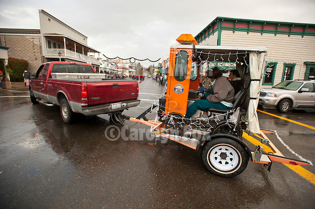Ione Business and Community Association hosts the annual Main Street Christmas parade featuring a speeder from the Recreational Railroad Coalition in the Mother Lode of Calif