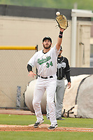 Clinton LumberKings first baseman Nick Zammarelli (34) catches throw to first base during a game against the Lansing Lugnuts at Ashford University Field on May 9, 2017 in Clinton, Iowa.  The Lugnuts won 11-6.  (Dennis Hubbard/Four Seam Images)