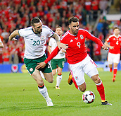 9th October 2017, Cardiff City Stadium, Cardiff, Wales; FIFA World Cup Qualification, Wales versus Republic of Ireland; Hal Robson-Kanu (Wales) holds off a challenge from Shane Duffy (Republic of Ireland)
