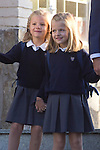 14.09.2012. Prince Felipe of Spain, Princess Letizia of Spain and their daughters Leonor and Sofia  arrive at 'Santa Maria de los Rosales' School in Aravaca near of Madrid, Spain. In the image (L-R) Princess Sofia and Princess Leonor  (Alterphotos/Marta Gonzalez)
