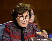 """United States Senator Jacky Rosen (Democrat of Nevada) questions witnesses as they testify before the US Senate Committee on Homeland Security and Governmental Affairs Permanent Subcommittee on Investigations during a hearing on """"Examining Private Sector Data Breaches"""" on Capitol Hill in Washington, DC on Thursday, March 7, 2019.<br /> Credit: Ron Sachs / CNP"""