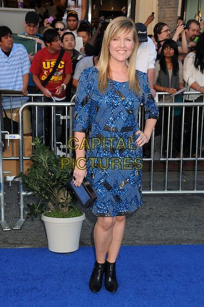 """ASHLEY JENSEN .Attending the """"Gnomeo and Juliet"""" World Premiere held at the El Capitan Theatre, Hollywood, California, USA, .23rd January 2011..& arrivals full length blue beaded sequined sequin dress sleeves clutch bag ring black ankle boots pointed pointy .CAP/ADM/BP.©Byron Purvis/AdMedia/Capital Pictures."""