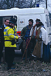 Police  question druid King Arthur Pendragon  for carrying a  ceremononial sword- Newbury road protest  1996.
