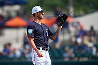 Detroit Tigers relief pitcher Shane Greene (61) during a Grapefruit League Spring Training game against the Atlanta Braves on March 2, 2019 at Publix Field at Joker Marchant Stadium in Lakeland, Florida.  Tigers defeated the Braves 7-4.  (Mike Janes/Four Seam Images)
