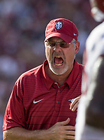 Hawgs Illustrated/BEN GOFF <br /> Paul Rhoads, Arkansas defensive coordinator, Saturday, Oct. 7, 2017, at Williams-Brice Stadium in Columbia, S.C.