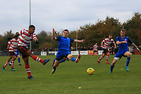 Reece Hall of Kingstonian takes a shot during Kingstonian vs Lewes, BetVictor League Premier Division Football at King George's Field on 16th November 2019
