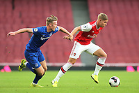 Emile Smith Rowe of Arsenal in possession as Everton's Harry Charsley looks on during Arsenal Under-23 vs Everton Under-23, Premier League 2 Football at the Emirates Stadium on 23rd August 2019