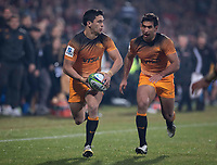 Jaguares' Matias Moroni runs with Matias Orlando in support during the 2019 Super Rugby final between the Crusaders and Jaguares at Orangetheory Stadium in Christchurch, New Zealand on Saturday, 6 July 2019. Photo: Dave Lintott / lintottphoto.co.nz