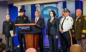 Surrounded by law enforcement professionals, acting Director, United States Immigration and Customs Enforcement (ICE) Matthew Albence briefs reporters in the Brady Briefing Room of the White House in Washington, DC on Thursday, October 10, 2019.<br /> Credit: Ron Sachs / CNP