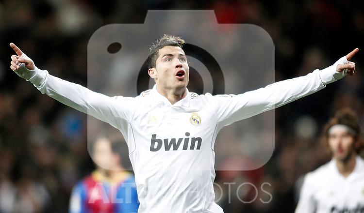 Real Madrid's Cristiano Ronaldo celebrates during La Liga match. February 12, 2012. (ALTERPHOTOS/Alvaro Hernandez)