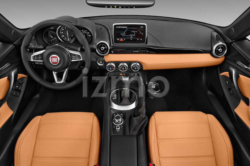 Stock photo of straight dashboard view of 2017 Fiat 124-Spider 1.4-Lusso 2 Door Convertible Dashboard