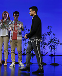 """Jordan Fisher during Andrew Barth Feldman takes his final """"Dear Evan Hansen"""" bows and """"Passes the Polo"""" to Jordan Fisher at the Music Box Theatre on January 26, 2020 in New York City."""