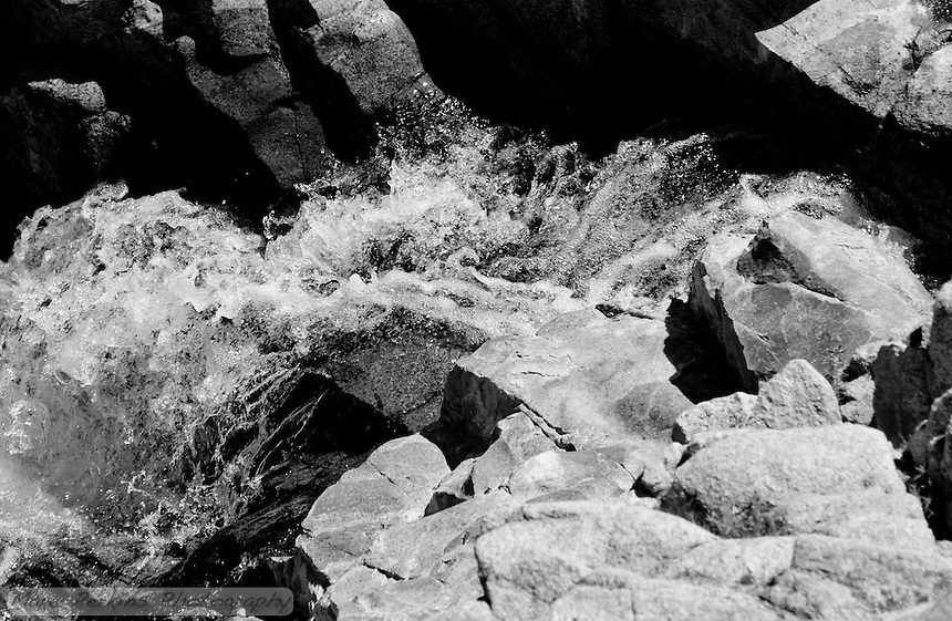 Water flies chaotically over a rocky cascade, frozen in midair.  I don't tend to work in black and white, but this one just felt right.  From Greg's and my hike to San Juan Falls in the Cleveland National Forest.