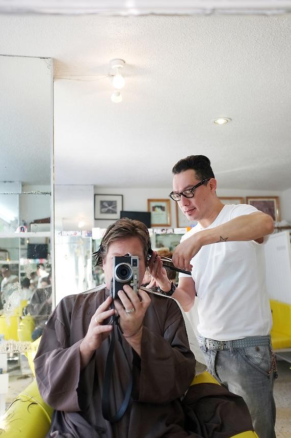 Self portrait getting my hair cut. Condesa, Mexico City