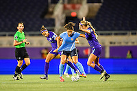 Orlando, FL - Saturday September 10, 2016: Kristen Edmonds, Raquel Rodriguez during a regular season National Women's Soccer League (NWSL) match between the Orlando Pride and Sky Blue FC at Camping World Stadium.