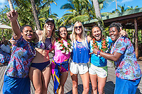 Namotu Island Resort, Nadi, Fiji (Tuesday, May 31 2016): Bianca Buitendag (ZAF), Johanne Defay (FRA), Bethany Hamilton (HAW) and Carissa Moore (HAW) -The  2016 Fiji Women's Pro wrapped up today with Johanne Defay (FRA) defeating Carissa Moore (HAW) in the 35 minute final. Defay dominated the final heat and had Moore needing a combination score by the end. The swell was in the 4'-6' range all day with clean conditions early before  strong Trade winds came in the  making the waves a bit choppy. Photo: joliphotos.com