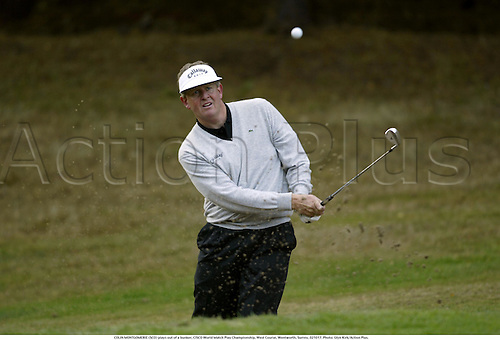 COLIN MONTGOMERIE (SCO) plays out of a bunker, CISCO World Match Play Championship, West Course, Wentworth, Surrey, 021017. Photo: Glyn Kirk/Action Plus....2002.golf golfing golfer golfers.bunkers sand trap traps sandtraps sandtrap