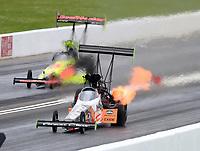 May 20, 2017; Topeka, KS, USA; NHRA top fuel driver Clay Millican during qualifying for the Heartland Nationals at Heartland Park Topeka. Mandatory Credit: Mark J. Rebilas-USA TODAY Sports