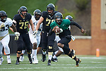 Kendall Hinton (2) of the Wake Forest Black Team scrambles with the football during the Wake Forest Football Spring Game at BB&T Field on April 7, 2018 in Winston-Salem, North Carolina.  The Gold Team defeated the Black Team 26-6.  (Brian Westerholt/Sports On Film)