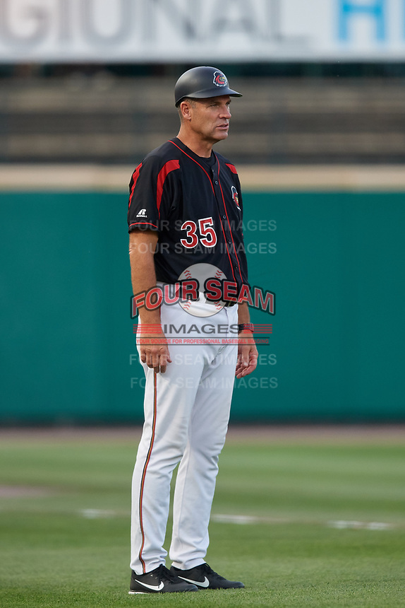 Rochester Red Wings manager Joel Skinner (35) during a game against the Lehigh Valley IronPigs on September 1, 2018 at Frontier Field in Rochester, New York.  Lehigh Valley defeated Rochester 2-1.  (Mike Janes/Four Seam Images)