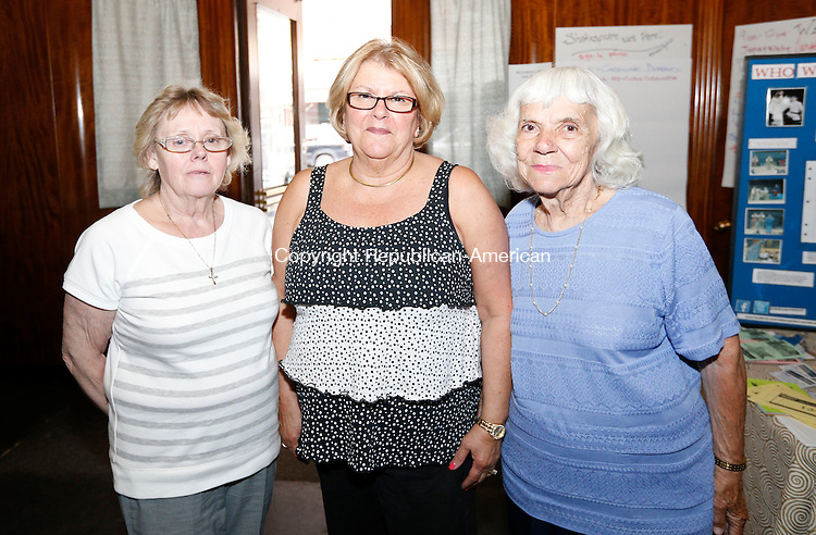 Waterbury, CT- 05 May 2015-050515CM11-  From left, Mayors counsel : Vickie DiChiara, chairperson, Barbara Sticco and Ellie Cordelli  are photographed during Shakesperience Productions reception of the 2015 Mayor's Arts & Culture Award at it's building on Bank St., in Waterbury on May 05, 2015.  As part of the Give Local fundraising campaign, Sheakesperience Productions put on a 36-hour Shakespeare marathon of event programming.  Christopher Massa Republican-American