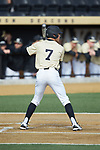 Nick DiPonzio (7) of the Wake Forest Demon Deacons at bat against the Louisville Cardinals at David F. Couch Ballpark on March 18, 2018 in  Winston-Salem, North Carolina.  The Demon Deacons defeated the Cardinals 6-3.  (Brian Westerholt/Sports On Film)