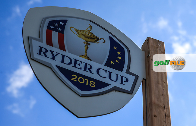 New introduction of Ryder Cup signage around the course, during the preview days of the 100th Open de France, played at Le Golf National, Guyancourt, Paris, France. 28/06/2016. Picture: David Lloyd   Golffile.<br /> <br /> All photos usage must carry mandatory copyright credit (&copy; Golffile   David Lloyd)