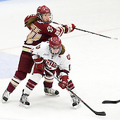 Meagan Mangene (BC - 24), Jillian Dempsey (Harvard - 14) - The Boston College Eagles defeated the Harvard University Crimson 4-2 in the 2012 Beanpot consolation game on Tuesday, February 7, 2012, at Walter Brown Arena in Boston, Massachusetts.