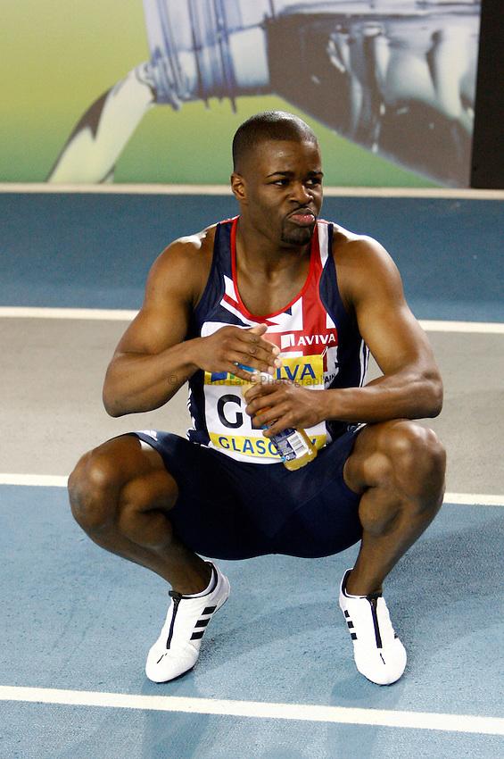 Photo: Richard Lane/Richard Lane Photography. Aviva International Match. 30/01/2010. Great Britain's Leon Baptiste after winning the men's 200m.