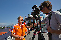 Austria, Kitzbühel, Juli 18, 2015, Tennis,  Junior Davis Cup, Bart Stevens (NED) being interview by tennis tv<br /> Photo: Tennisimages/Henk Koster