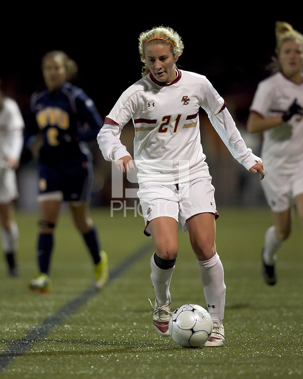 "Boston College midfielder Kate McCarthy (21) on the wing. Boston College defeated West Virginia, 4-0, in NCAA tournament ""Sweet 16"" match at Newton Soccer Field, Newton, MA."