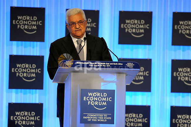 Palestinian President Mahmoud Abbas speaks during the World Economic Forum on the Middle East and North Africa at the King Hussein Convention Centre, at the Dead Sea May 26, 2013. Photo by Thaer Ganaim