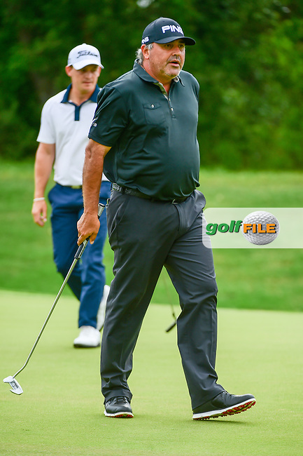 &Aacute;ngel Cabrera (ARG) reacts after barely missing a birdie putt on 9 during round 2 of the Valero Texas Open, AT&amp;T Oaks Course, TPC San Antonio, San Antonio, Texas, USA. 4/21/2017.<br /> Picture: Golffile | Ken Murray<br /> <br /> <br /> All photo usage must carry mandatory copyright credit (&copy; Golffile | Ken Murray)