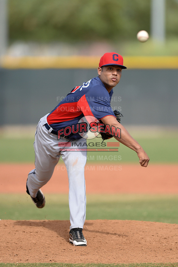 Cleveland Indians pitcher Daniel Gomez (45) during an Instructional League game against the Kansas City Royals on October 9, 2013 at Surprise Stadium Training Complex in Surprise, Arizona.  (Mike Janes/Four Seam Images)