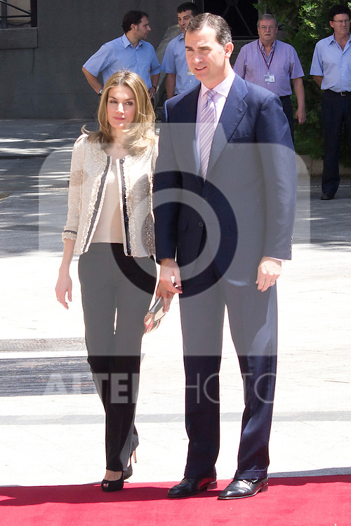16.07.2012. Prince Felipe of Spain and Princess Letizia of Spain attends the Giving of the 8 th Edition of ´Luis Carandell´ Parliamentary Journalism in the Senate Building. In the image Princess Letizia and Prince Felipe   (Alterphotos/Marta Gonzalez)