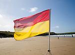 Lifeguard safety flag on beach