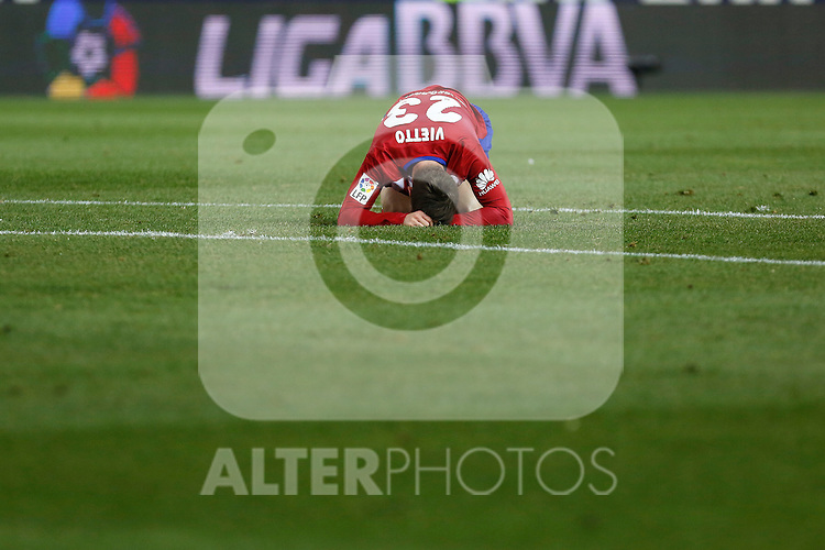 Atletico de Madrid´s Vietto reacts during 2015-16 La Liga match between Atletico de Madrid and Deportivo de la Coruna at Vicente Calderon stadium in Madrid, Spain. March 12, 2016. (ALTERPHOTOS/Victor Blanco)