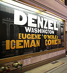 Theatre Marquee for Denzel Washington starring in the New Broadway Revival of Eugene O'Neill's 'The Iceman Cometh' at P Bernard B. Jacobs Theatre on December 22, 2017 in New York City.